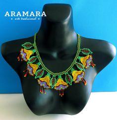 Mexican Huichol Beaded Flower Necklace CFM-0036      от Aramara