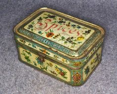 Antique Tin Lithograph Toleware Spice Set Box Painted  c.1850-1899