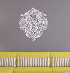 "20"" x 24.75"" Gorgeous boho wall decal henna mandala look applied in one piece multiple colors avilable"