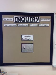 "Our inquiry board ""parking lot"". Located beside our research station (computer… Science Inquiry, Inquiry Based Learning, Science Area, Project Based Learning, Science Activities, Spanish Activities, Science Humor, School Displays, Classroom Displays"