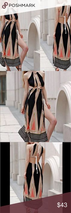 Sexy strappy maxi dress Super cute. Size see the last pic. Material: rayon Dresses Maxi