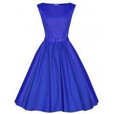 LINDY BOP 'AUDREY' HEPBURN STYLE VINTAGE 1950'S MEDIUM BLUE ROCKABILLY SWING DRESS - need one in every color :)