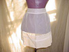 Vtg Sheer White Half Apron Flocked Swiss Polka Dot and 3 Pockets Maid Hostess Seller florasgarden on ebay