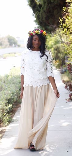 A gorgeous chiffon maxi and lace top from @adaraonline - DowntownDemure.com