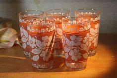 Retro Vintage Lot Set of 5 Hazel Atlas Enamel Flower Drinking Glasses Tumblers #HazelAtlas