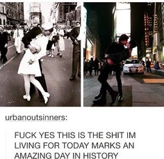 This is cool, even though in the original picture the nurse was being assaulted. He forced himself on her. Still a cool comparison though!