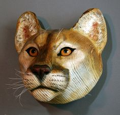 Mountain Lion Mask wood sculpture Jason Tennant by jasontennant
