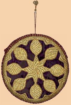 "Antique Turkish Hand Bag, Gold Embroidery on Velvet.  Ottoman Dynasty 1453-1922A.D     Size 7"" x 7"""
