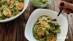 Cut some carbs and use spiralized zucchini in place of noodles in this zesty pesto pasta dish recipe. Top with Cajun-seasoned shrimp to complete this quick and easy dinner. Zucchini Noodle Recipes, Zoodle Recipes, Zucchini Noodles, Pesto Shrimp, Cajun Shrimp, Pesto Pasta Dishes, Avocado Pesto, Homemade Pesto, Allergy Free Recipes