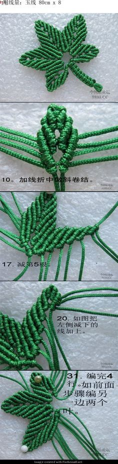 macrame maple leaf - detailed photo tutorial