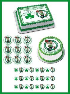 Boston Celtics Edible Birthday Cake Topper OR Cupcake Topper, Decor - Edible Prints On Cake (Edible Cake &Cupcake Topper)