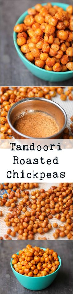 Tandoori Roasted Chickpeas are perfectly crispy, delicious snack ready in 30 minutes! They are vegan, gluten-free, and very flexible with seasonings. Perfect snack for the kids to replace unhealthy crisps! Vegan Appetizers, Vegan Snacks, Yummy Snacks, Healthy Snacks, Chickpea Snacks, Chickpea Recipes, Savory Snacks, Yummy Food, Indian Food Recipes