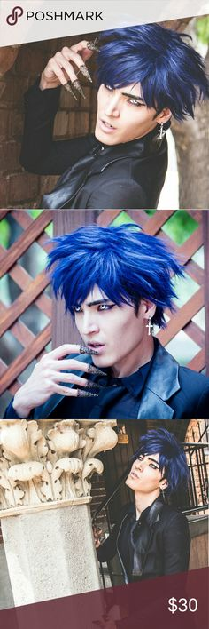 Blue Anime Boy Cosplay Dark Wig Manga Style Unisex All photos of myself.   Fluffy blue wig. Has a anime look and style and ideal for cosplay. Worn a couple times.  169A #Wig #unisex #bluehair #aomine #goth Hot Topic Accessories Hair Accessories