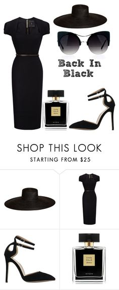 """""""Back In Black"""" by last-of-heartshaven ❤ liked on Polyvore featuring Samuji, Roland Mouret and Avon"""