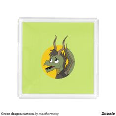 Green dragon cartoon square serving trays