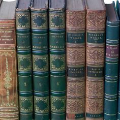 Detail of Antique Leather Books by Juniper Books