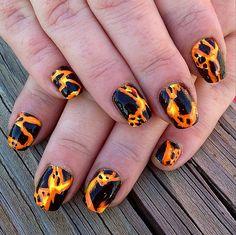 Lava nail art is a hot way to start Summer.