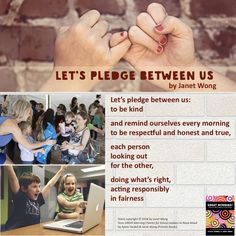 """Here's a digitally created collage for """"Let's Pledge Between Us"""" by Janet Wong from GREAT Morning: Poems for School Leaders to Read Aloud (Pomelo Books, Books 2018, Read Aloud, Collages, Acting, Poems, Let It Be, Reading, Digital, School"""