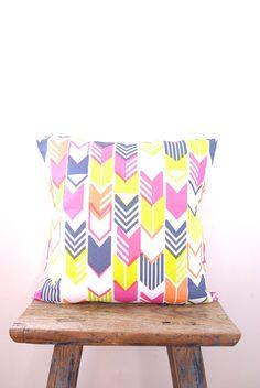 Cushion Cover double sided Arrow Chevron yellow, fuchsia pink, navy blue, peach, throw pillow bright & colourful