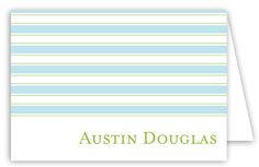 Simple Blue Stripes Folded Note Card : Adult Personalized Stationery