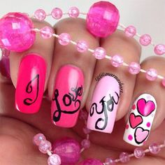 Valentine S Day I Love You Nail Art Designs Holiday