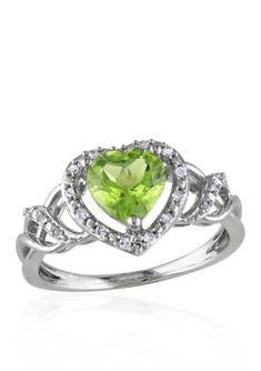 Belk  Co.  Sterling Silver Peridot and Diamond Heart Ring