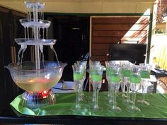 Wouldn't be a baby shower without a champagne fountain. And I glued some ribbon into plastic glasses.