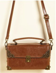 Modcloth Scrapbook Ending Bag in Cognac $28 shipped - long strap clasp broke - probably an easy fix.