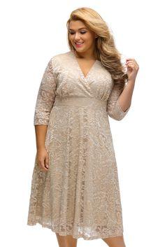 210ac9963a Apricot Plus Size Surplice Lace Formal Skater Dress MAVERLLY Sexy Outfits