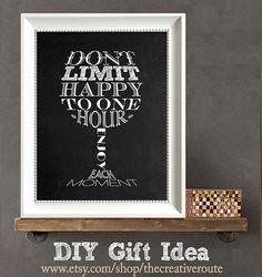 WIne Quote Print DIY Gift   Don't Limit Happy par TheCreativeRoute