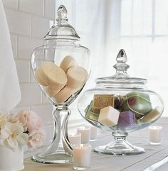 Adding the Accents: Bathroom Decor. Interestingly shaped apothecary glass jars to hold decorative and artisan soaps. For guest bathroom Apothecary Jars Bathroom, Bathroom Jars, Bathroom Ideas, Bathroom Spa, Master Bathroom, Bathroom Canvas, Washroom, Pottery Barn Bathroom, Apothecary Decor
