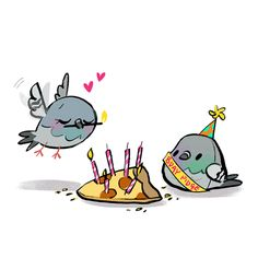 happy bday to my awesome huz! Cute Animal Drawings, Animal Sketches, Bird Drawings, Doodle Drawings, Cute Drawings, Doodle Art, Pretty Art, Cute Art, Cute Pigeon