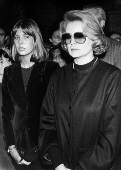 Princess Grace and her daughter, Princess Caroline, attending at Maria Callas funeral, 1977.