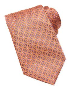 N2FTS Stefano Ricci Micro-Medallion Silk Tie, Orange