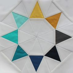 "Cool ""Evening Star"" quilt block from Queen Bee Stitchified. Pattern and tutorial available from Swim Bike Run here: http://swimbikequilt.com/2011/08/summer-sampler-series-evening-star.html"