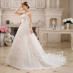 07aad92e147492 Custom Wedding Dress A-Line With Long Train Sleeveless Strapless Satin. Goedkope  TrouwjurkLange ...