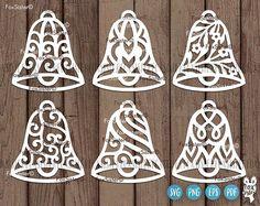 by FoxSister on Etsy Christmas Tree Clipart, Christmas Bells, Christmas Baubles, Xmas, Cricut, Bell Design, Vinyl Paper, Circle Monogram, Christmas Settings