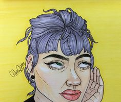 Drawing of a Girl with purple hair promarkers CillieOlsen