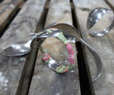 BRACELET SPOON Bracelet Grandma Tilde, created with a bent spoon, decorated with fabrics. #spoon #braceletspoon #cucchiaio #bracciale #tessuto #colour #spring #creative