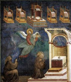 Giotto di Bondone, Fresques de la Vie de Saint-François d'Assise: (9) François et un de ses compagnons en prière voient un ange qui leur montre cinq trônes vides, fin du XIIIe siècle, Basilique Saint-François d'Assise