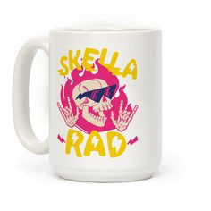 Skella Rad - Yeah you're a sick looking flaming skull with hella cool shades on. That's metal as heck. Rip through hell on a skateboard with this Skella Rad Skull mug equip with really really cool sunglasses and flames, as well as skeleton hands throwing up the sign of the horns.