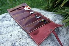 Leather tool roll tool bag chocolate brown by GalenLeather on Etsy