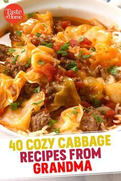 40 Cozy Cabbage Recipes from Grandma Cabbage And Beans Recipe, Cooked Cabbage, Corn Beef And Cabbage, Cabbage Recipes, Cabbage Soup, Bean Recipes, Cabbage Vegetable, Hearty Vegetable Soup, Vegetable Recipes