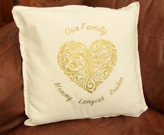 Personalised Family Cushion with Heart by LastingImpressions16