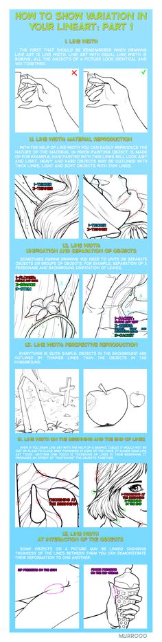 How to show variation in your lineart: part 1 by murr000.deviantart.com on @deviantART