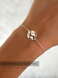 JET Sterling Silver World Map Bracelet, Globe Bracelet, Travel Jewellery Gift, Wanderlust, Earth Bra Simple Jewelry, Cute Jewelry, Jewelry Gifts, Cute Bracelets, Fashion Bracelets, Fashion Jewelry, Jewelry Bracelets, Jewelry Trends, Jewelry Accessories