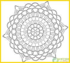 crochet - squares and doilies crochet Motif Mandala Crochet, Crochet Doily Diagram, Crochet Doily Patterns, Crochet Chart, Crochet Squares, Thread Crochet, Crochet Stitches, Crochet Round, Bead Patterns