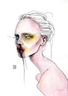 lucasbavid: the dying went on and on Dark Art Drawings, Art Drawings Sketches, Distortion Art, Arte Lowbrow, Arte Punk, Creepy Art, Hippie Art, Art Mural, Art Portfolio