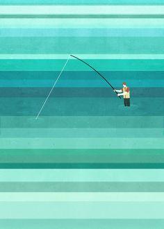 Fishing Wall Illustration by Alessandro Gottardo
