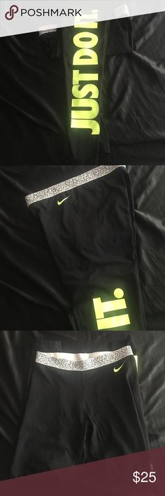 NIKE Dri fit leggings Just do it leggings dri fit in great condition. Highlighter letter writing. Nike Pants Leggings